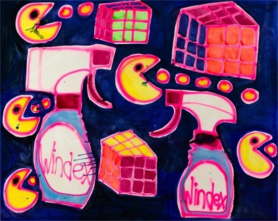 painting featuring Pac-Man, Rubix Cube, and Windex bottles