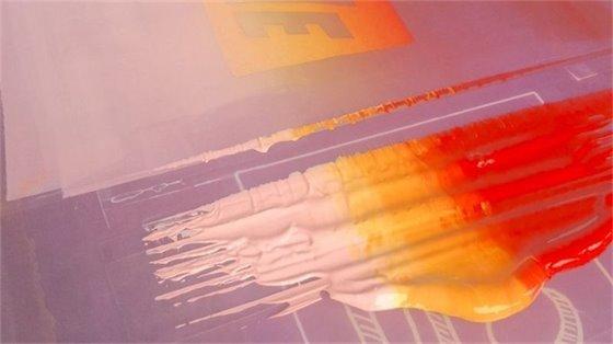 Multi-colored inks on a silkscreen