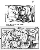 Sketches of T. Rex attacking a Jeep