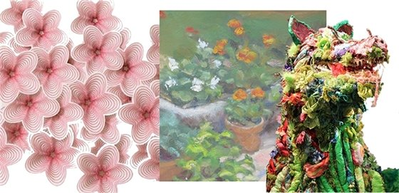 Composite image of flowers, flower painting, and animal figure sculpture