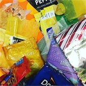 A collection of various food wrappers