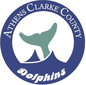 Athens-Clarke County Dolphins logo with dolphin tail in water.