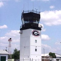 Airport Control Tower. Georgia G logo painted onto the side of the air tower.