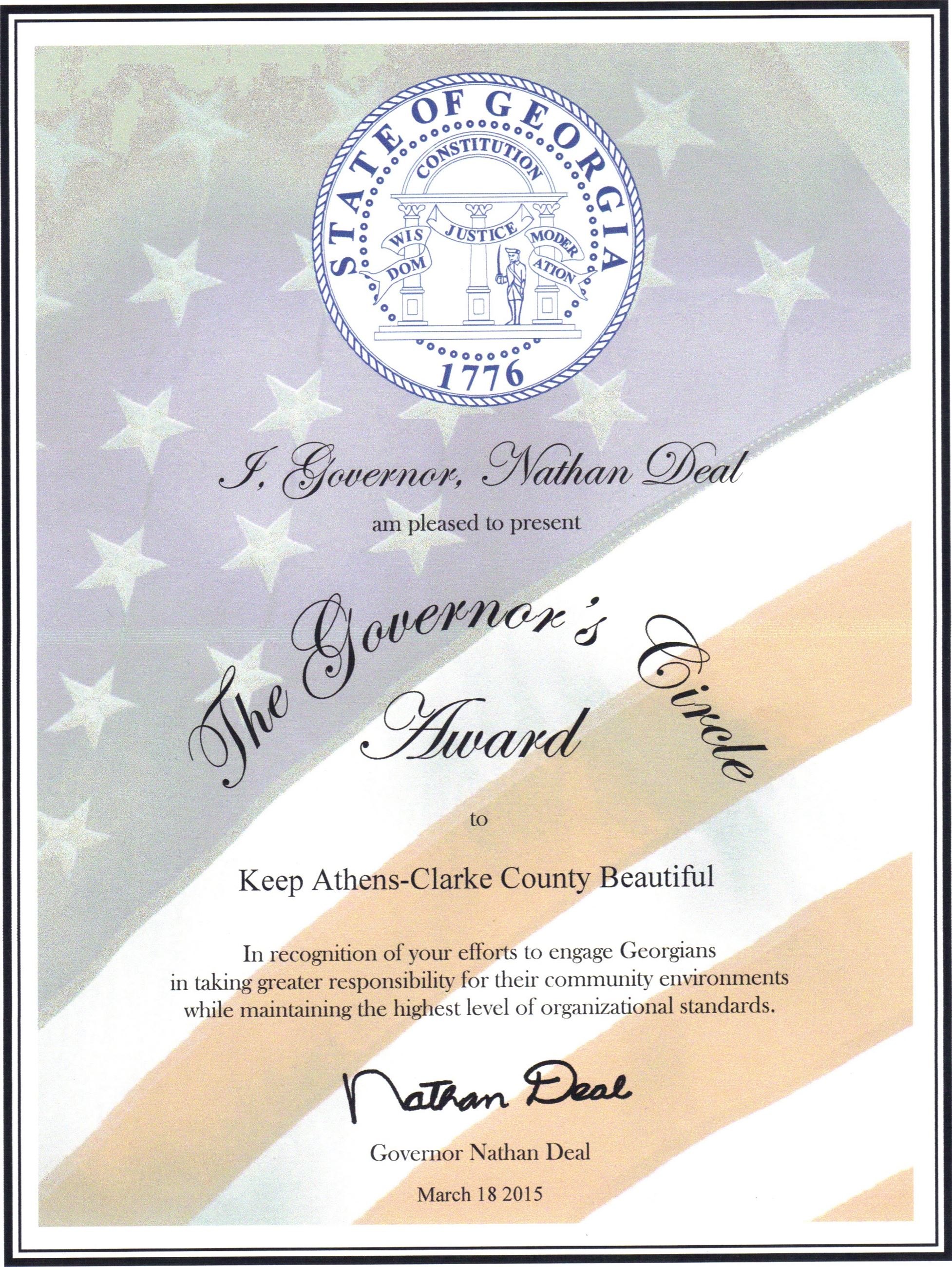 Governors Circle Award 2015 GA