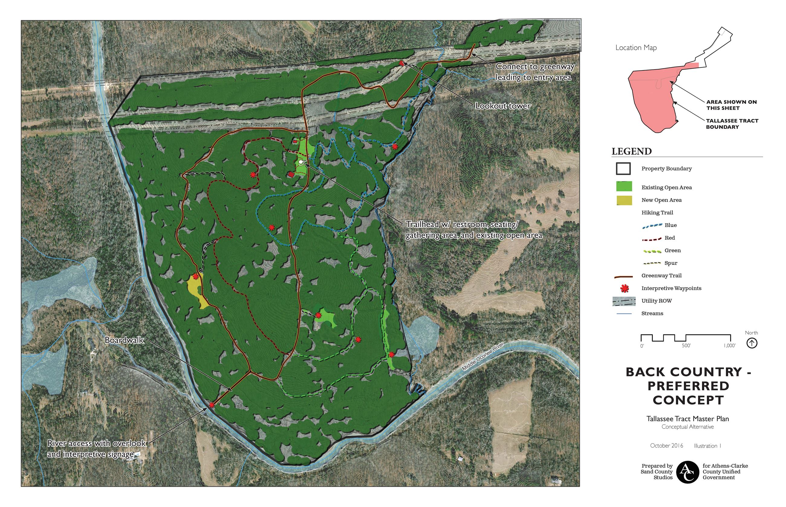 Tallassee Forest Master Plan Back Country Preferred Concept
