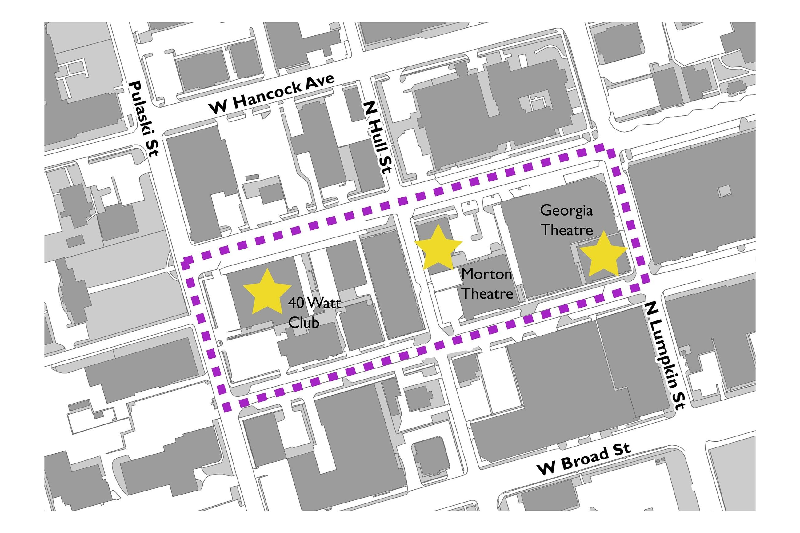 Proposed Athens Music Walk of Fame Map