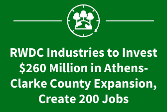 RWDC Industries to Invest $260 Million in Athens-Clarke County Expansion, Create 200 Jobs