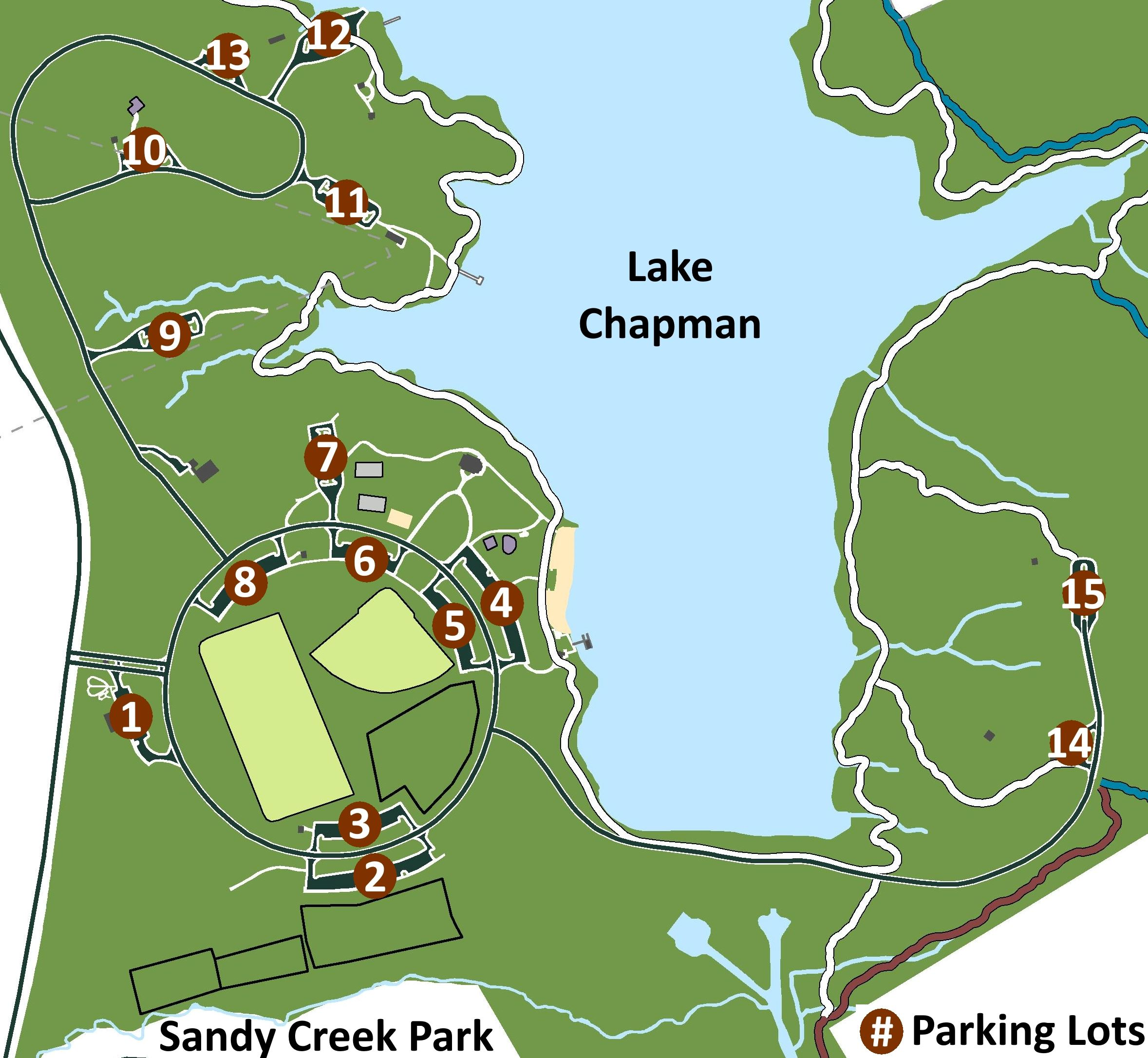 Map of Sandy Creek Park's Parking Lots.