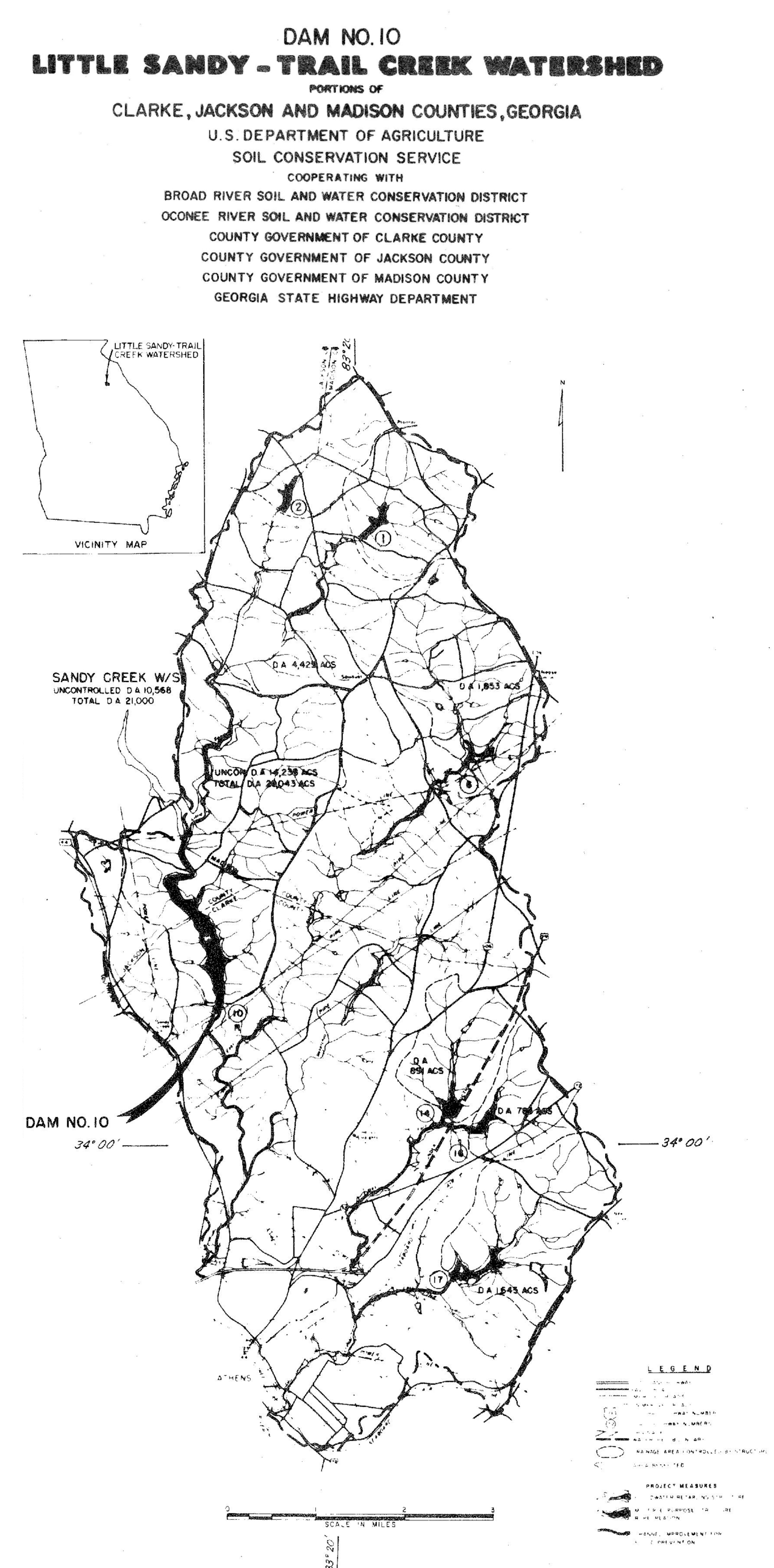 Original watershed project map from the proposal by Clarke, Jackson, and Madison counties.