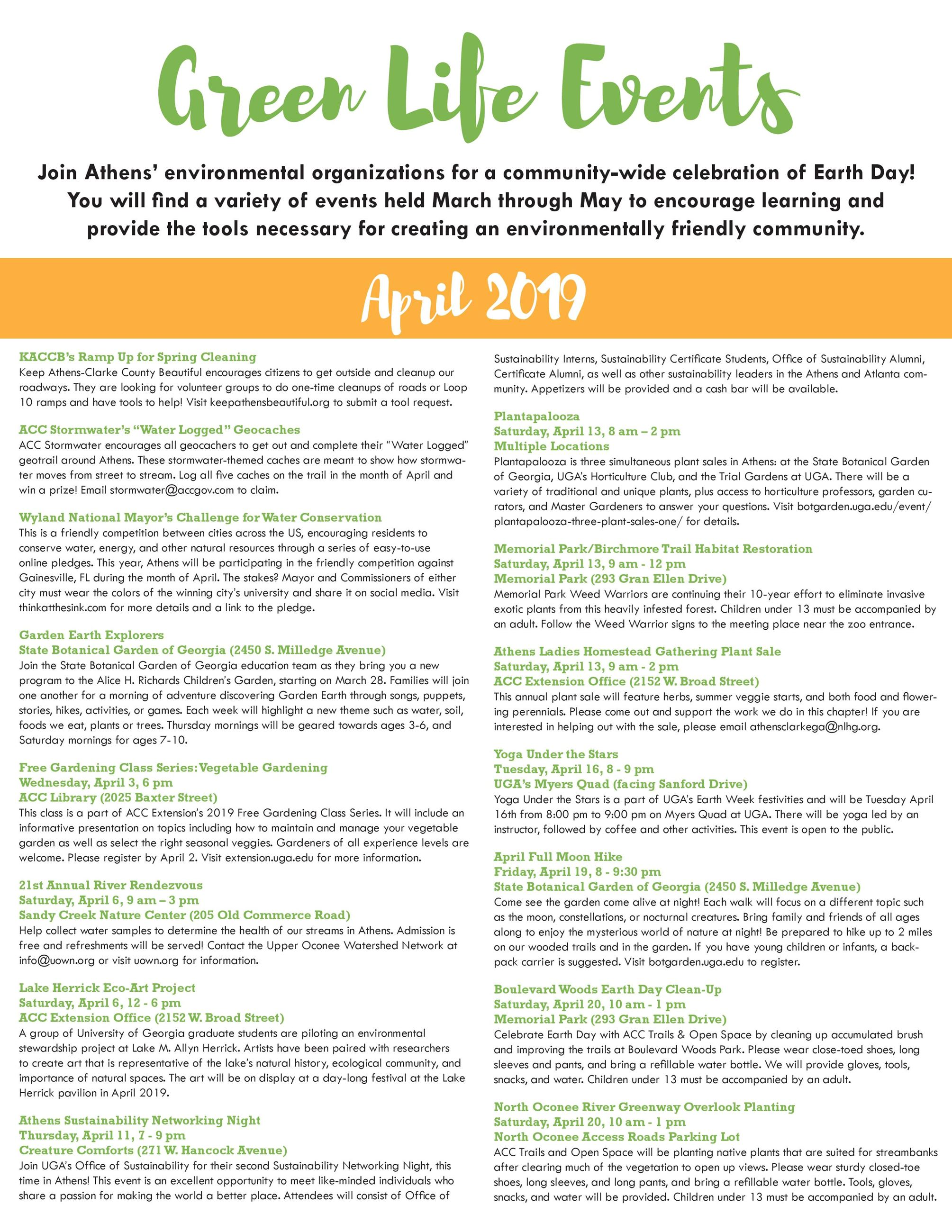 2019 GreenFest Events Poster 2