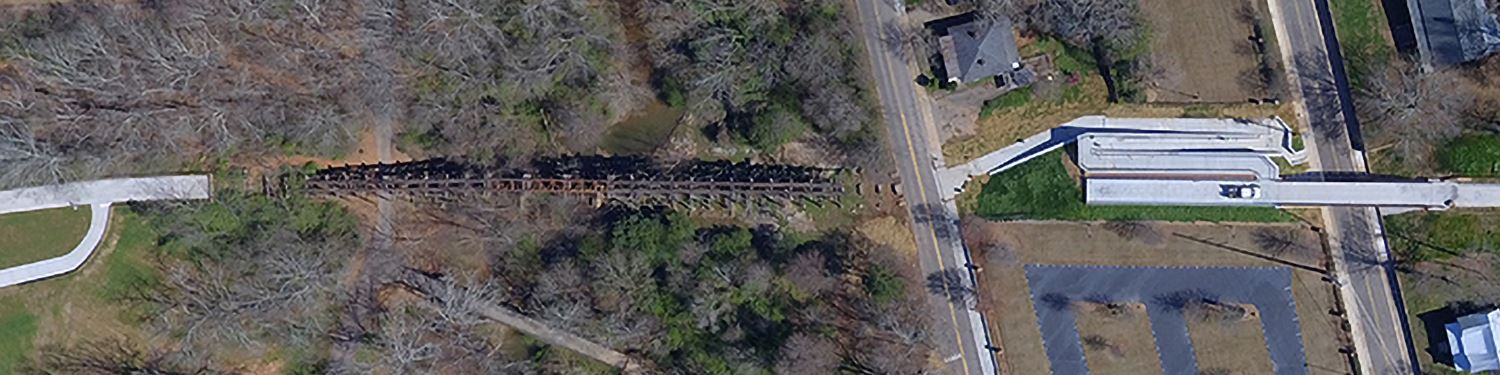 Over head view of existing trestle structure