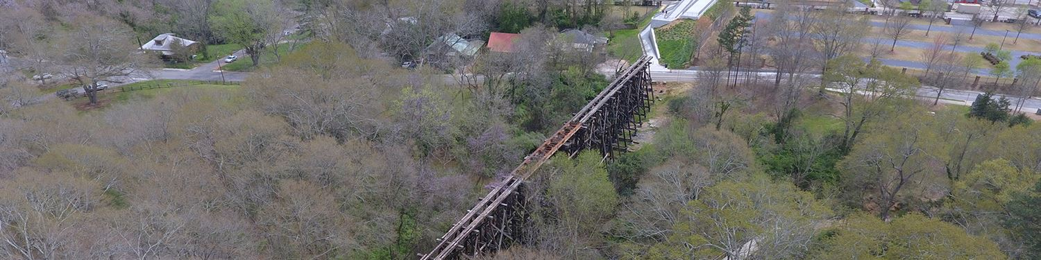 View of existing trestle structure looking east