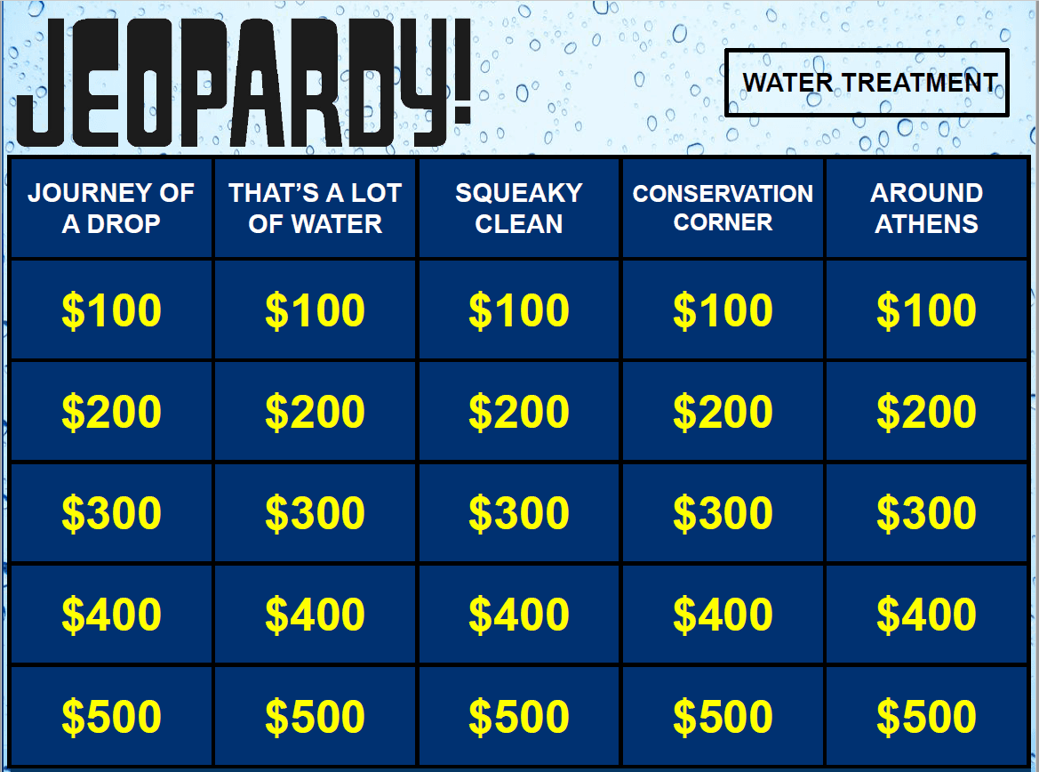 Water Jeopardy Game Board Opens in new window