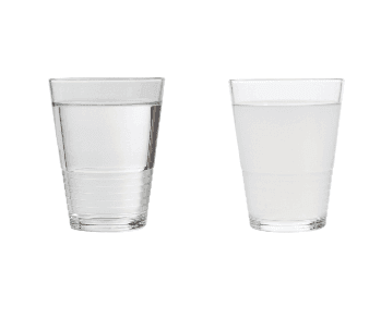 Glasses of clear and cloudy water side by side
