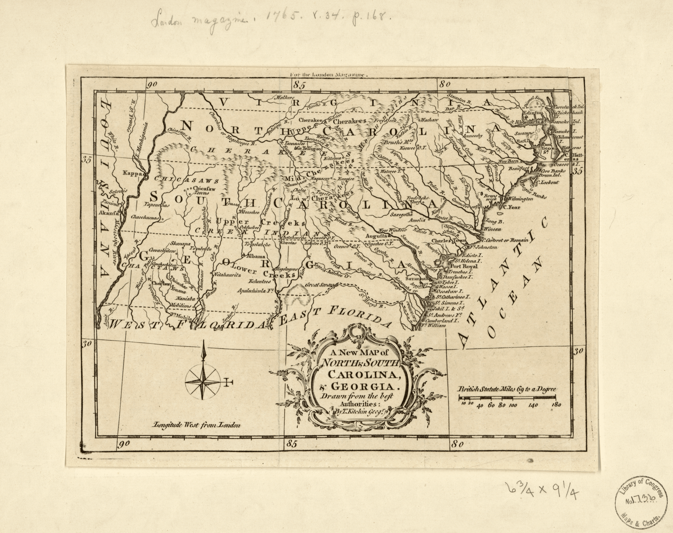 Map of Georgia and S Carolina - 1769