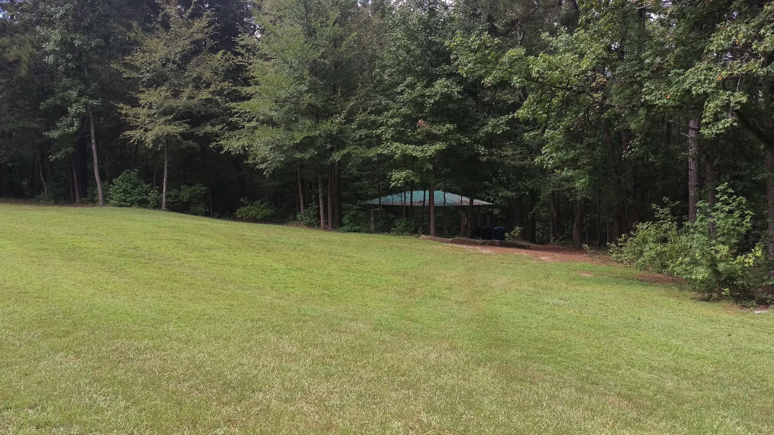 Photo of Picnic Shelter 5 and the adjacent lawn at Sandy Creek Park.