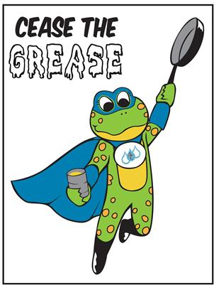 Lily Frog mascot as grease avenger cartoon
